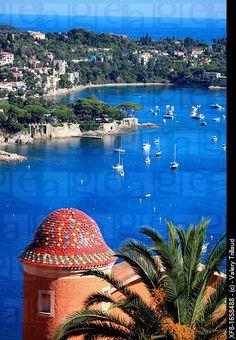 The coastal village of Villefranche sur mer and Cap Ferrat, French Riviera