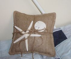 Beach Wedding Ring Bearer Pillow