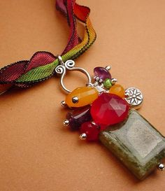 Heidi J. Hale necklace...beautiful color mix (and I like the matching ribbons)