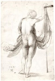 Nude Study (Nude Female from the Back) - Albrecht Durer