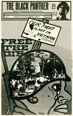 """The Black Panther - """"Free the GI's: Our Fight Is Not in Vietnam,"""" September 201969 Artist: Emory Douglas"""