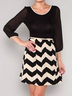 Black and Beige Chevron Dress with Chiffon Top - $39.99 : FashionCupcake, Designer Clothing, Accessories, and Gifts