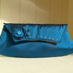 Clutch Bag in Peacock Blue Silk- ONE DAY SALE! £24.00