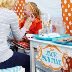 Cute face painting sets the stage for this fun Circus Halloween party: http://www.bhg.com/halloween/parties/circus-kids-halloween-party/?socsrc=bhgpin092214facepainting&page=10