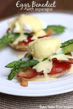 Delicious Eggs Benedict with Asparagus recipe { lilluna.com }.  Guest post from www.tastesbetterfromscratch.com!  This twist on a traditional Eggs Benedict looks amazing!