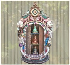 """3 Buddhas"" sister mosaic, art religioso, mosaicsstain glass, hermana ortiz, sacr shrine"