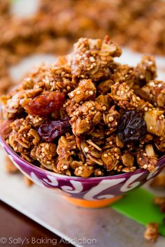 Crunchy Apple Spice Granola packed with quinoa, almonds, maple, and cinnamon. Healthy snacking made easy!