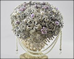 READY TO SHIP Lavender cascading brooch bouquet by BluePetyl