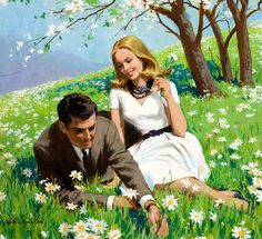 Such a romantically lovely springtime image. #art #couple #spring #1960s #vintage