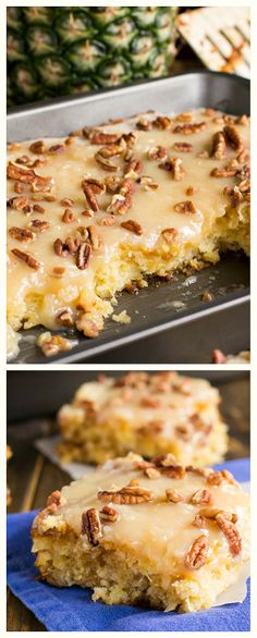 Pineapple Sheet Cake- super moist and covered with a coconut-laced icing.