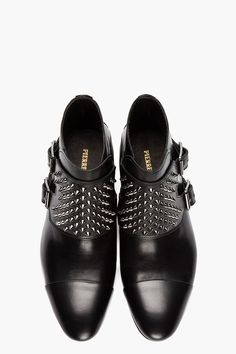 PIERRE BALMAIN Black Leather Studded Monk Boots