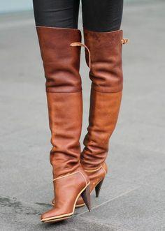 BALENCIAGA Designer Camel Leather Over Knee Boots