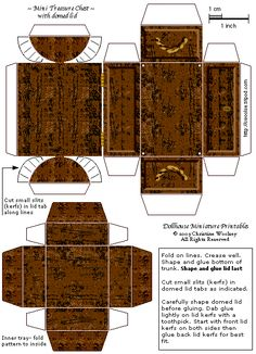 free mini treasure chest printable - cute for pirate party to hold treats - or you could print it  have it blown up to make a larger version