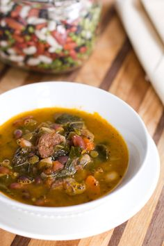 Four Bean Sausage and Collard Green Soup -- now this is some seriously hearty soup. Use nitrate-free chicken Italian sausage and omit the split peas for Phase 3