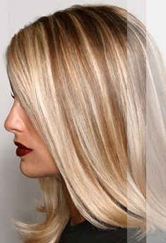 """Foil highlights and lowlights. This style depends on one length hair--no layers! Layers would make the highlight strands look choppy. (The addition of lowlights depends on the starting base color--not needed if your """"brown"""" looks like this; definitely needed if you have too much blonde)"""