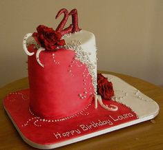 Elegant Birthday Cakes For Women | Elegant 21st birthday cake with red roses.JPG