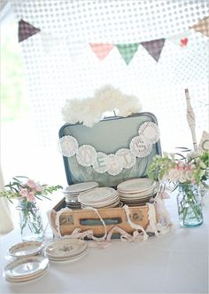 Country Vintage Pastel Wedding - except for cards not plates.