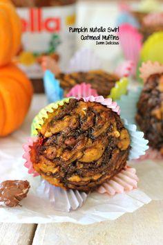 #Pumpkin #Nutella Swirl #Oatmeal Muffins via Damn Delicious~these look terrific!