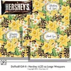 Hershey 4.25 Large Envelope Style Wrappers for Easter, Birthday, Thank You, Thinking of You, and Blank... designs for making your own gift baskets for friends.  DAISIE COMPANY: Printable Digital Paper Crafts, Clipart, Scrapbooking, Stamp, Party - DaisieCompany.com