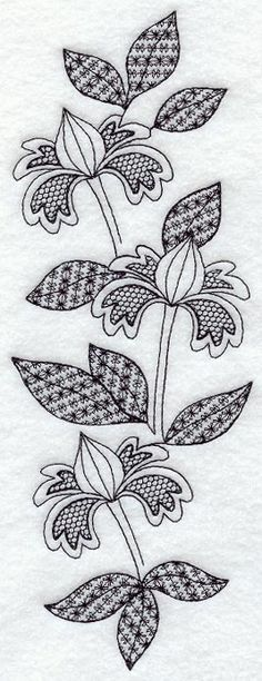 Blooming Spray (Blackwork)  Still thinking about longarm quilting designs in the back of my mind with this