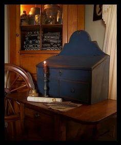hand, primative wall decor, earli american, coloni earli, wall box, blue box, american wall, boxes, coloni decor