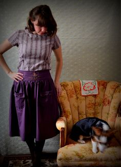 Folk Art --  Gathered skirt with pockets size S 6/8 OOAK. $58.00, via Etsy.