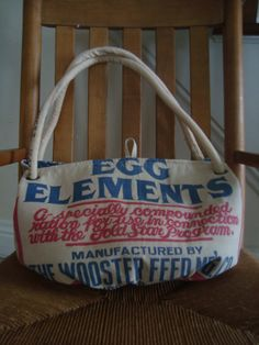 vintage chicken feed sack purse  Gold Star EGG by ginnymae on Etsy, $65.00