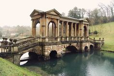One of only four Palladian bridges of this sort in the world, found in Prior Park Landscape Garden, an 18th-century landscaped garden south of Bath, Somerset.