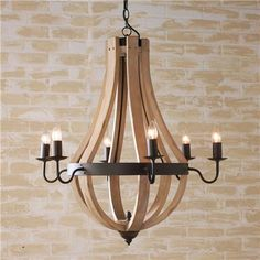 Wooden Wine Barrel Stave Chandelier from Shades of Light