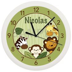 Safari Jungle Animal Personalized Nursery Wall Clock nurseri wall, wall clock, person nurseri, jungle animals, safari jungl, jungl anim