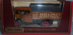 Matchbox Models of Yesteryear Y-27 1922 Foden Steam Lorry Tate & Lyle's Packet Sugar 1:72 Scale Diecast by Matchbox. $12.99. Tate & Lyle's Packet Sugar. Matchbox Models of Yesteryear. 1:72 Scale Diecast. Y-27 Foden Steam Lorry. Brown and Black. Matchbox Models of Yesteryear Y-27 Foden Steam Lorry Tate & Lyle's Packet Sugar Brown and Black 1:72 Scale Diecast