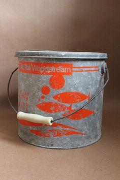Vintage WoodStream Minnow Bucket.