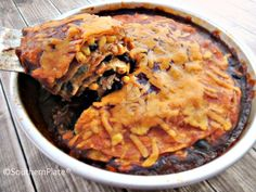 Chicken Enchilada Pie ~Bags To Dishes~