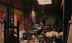 Photograph by Perry Ogden. Francis Bacon's Studio - exquisitely squalid. I needed an image of a real painters studio, not cliched operatic imaginings - but a room where paint reigns. Every surface covered with the history of a thousand marks of testing, working out, frustration, elation. A single window but this one without a view other than perhaps a small piece of sky.