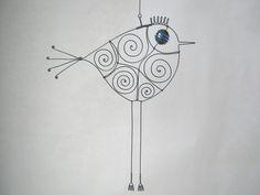 Wire art bird sculpture.