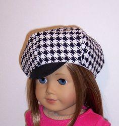 Houndstooth Newsboy Hat for American Girl/18 by erinslittlesecrets