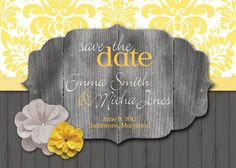 Wedding Save the Date Rustic Grey and Yellow.