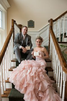 OMG... I'm in love with this pink wedding dress! I would totally wear this to renew my vows one day