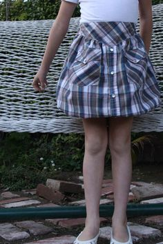 upcycled mens shirt into girls skirt