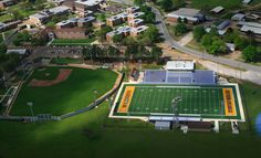 Aerial view of the football and baseball fields at SAU