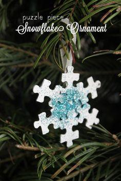 Puzzle Piece Snowflake Ornament   Mama.Papa.Bubba.