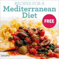 The Mediterranean diet, full of healthy fats, whole grains, legumes, fish and produce, with moderate amounts of wine, has been shown to be one of the healthiest ways to eat. Here's a FREE Cookbook with recipes for the Mediterranean Diet!