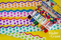 DIY tutorial - polka dot borders for your bulletin boards  The kids would love doing this in the nursery
