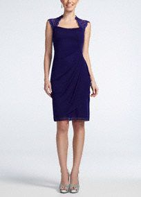 Beautiful back! Classic and timeless silhouette makes this exquisite sheer matte jersey dress a staple piece in your evening wardrobe!  Sleeveless bodice features ultra-feminine lace back.  Side ruching creates a flattering figure.  Fully lined. Back zip. Imported polyester. Professional spot clean only, no direct heat or steam.Also available in Plus sizes as Style XS5140W.