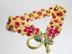 READY TO SHIP Lady Parr Siam Ruby Celsian Czech Fire Polish Bracelet by WhimsyBeading, $40.00
