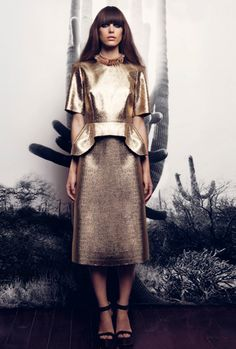 Fluted hem top in gold. A-line skirt in gold. AW2012. By Ellery.