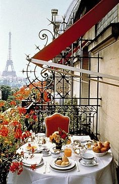 Wonderful breakfast balcony overlooking the Eiffel Tower