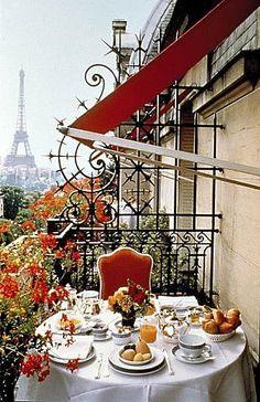 Wonderful breakfast balcony overlooking the Eiffel Tower