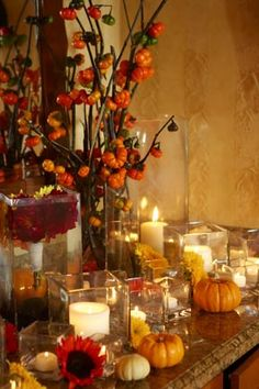 'fall' tablescape - love the sunflower