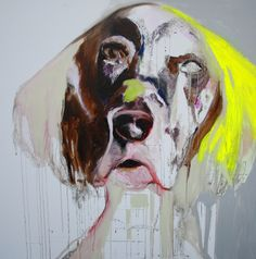 "Saatchi Online Artist: Patricia Derks; Oil, Painting ""YELLOW DOG"" #art"